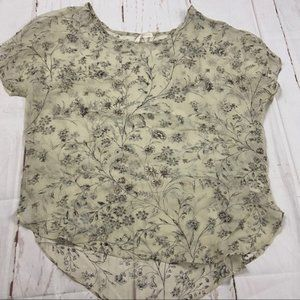 Paper Crown piper silk cream floral sheer blouse